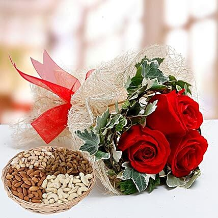 Velvety Rose Bouquet and Dry Fruits Combo: