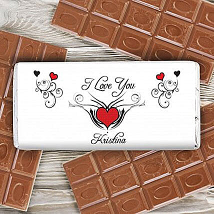 Personalized Red Heart Milk Chocolate Bar Birthday Gifts For Her UK