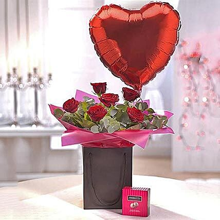 Be Mine Chocolate and Balloon Gift Set: Send Chocolate to UK