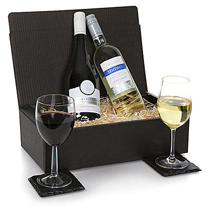 French Two Bottle Wine Selection: Gift Baskets in London, UK