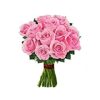 12 Pink Roses: Send Flowers to USA