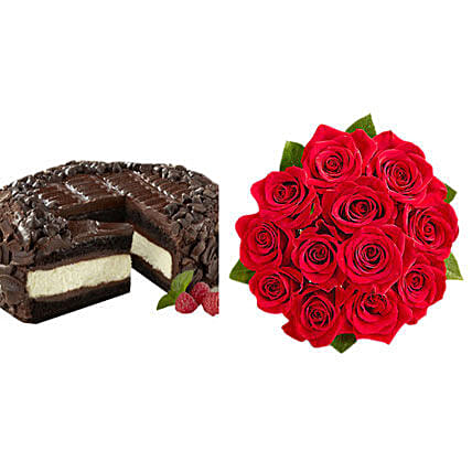 Chocolate Cheesecake And Roses Send Birthday Cakes To USA