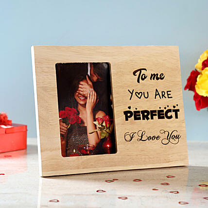 You Are Perfect Engraved Wooden Photo Frame: Personalised Gifts to USA from India