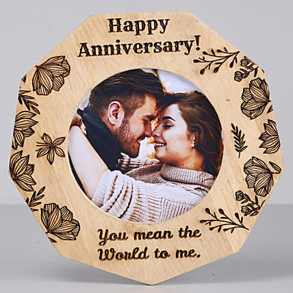 Romantic Anniversary One Personalised Wooden Frame: Send Personalised Gifts to USA