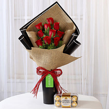 Red Roses Bouquet and Ferrero Rocher Combo