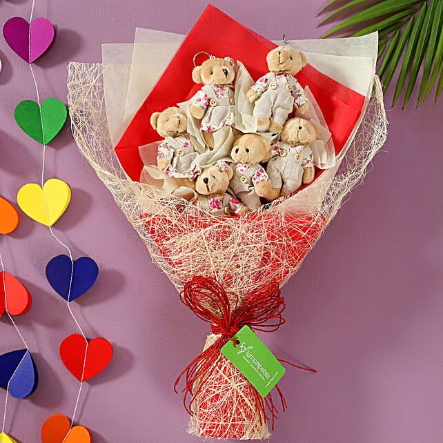 6 Cuddly Teddy Bears Bouquet