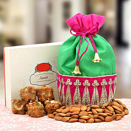 A Serene Surprise-Pinni 500gms,Green and Pink Potley,Almonds 100gms