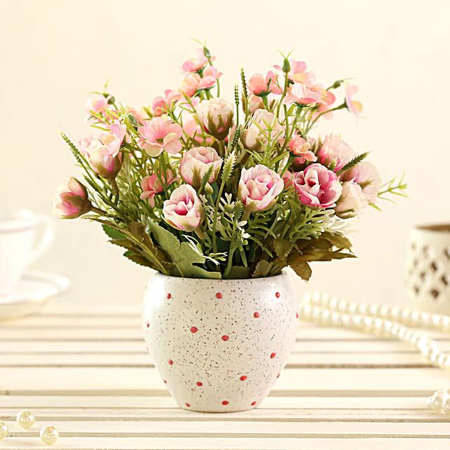 faux artificial flower with dots pot online