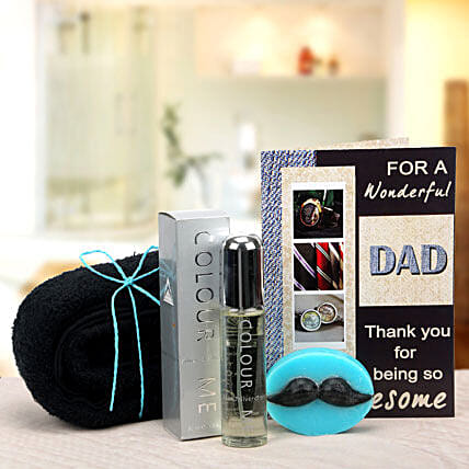 Combo of blue towel, soap, greeting card and perfume