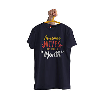 awesome wives text printed tshirt online