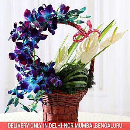 orchid and anthurium in basket arrangement