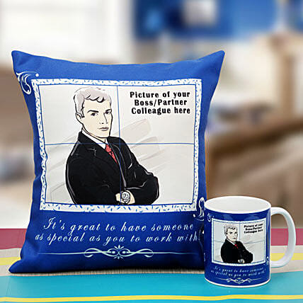 Be the Boss Personalized Cushion and Mug