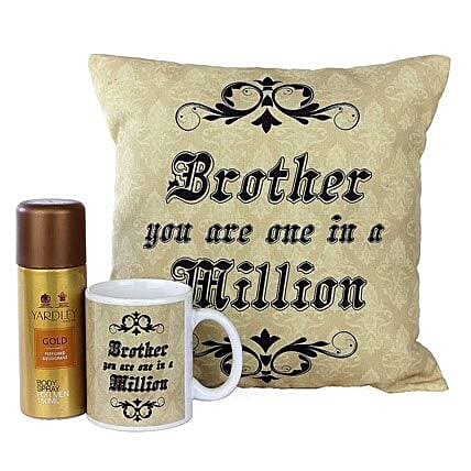 Best Brother Combo-One 12X12 inches Cushion,One Mug,Yardley Gold Body Spray 150 ml