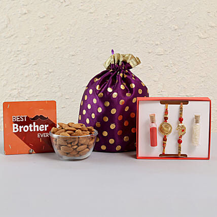 Rakhi with Dry Fruit Potli Online