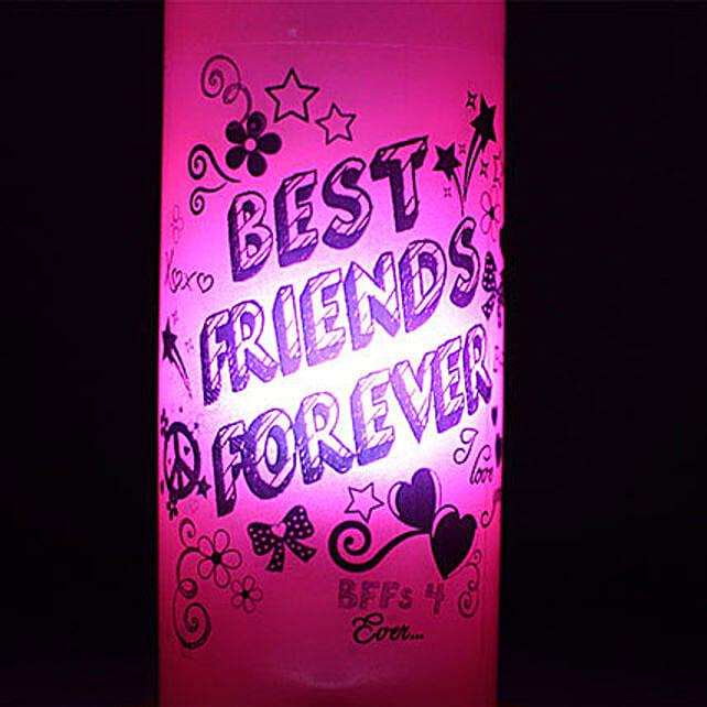 Best Friends Forever Lamp-best friends forever pink coloured bottle lamp