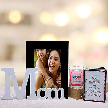 Best Mom Gift Hamper-1 personalized photo frame for mom,1 candle for mom and 100 reasons why you are the best mom booklet