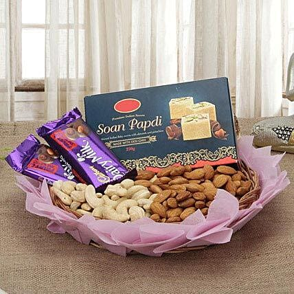 Combo of chocolates, dry fruits and