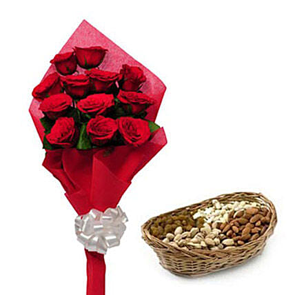 Best wishes for you - One sided Bunch of 12 Red Roses in red color paper packing and 250gm mixed dryfruits in a cane basket.