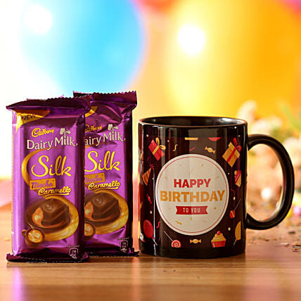 birthday printed mug with chocolates for her