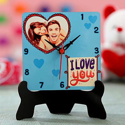 I love you printed photo clock online for her