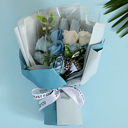 Blue & White Artificial Flower Bouquet