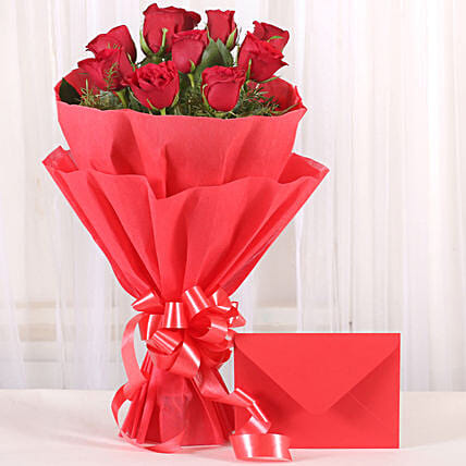 Bouquet N Greeting Card - Bunch of 10 Red roses and greeting card gifts.
