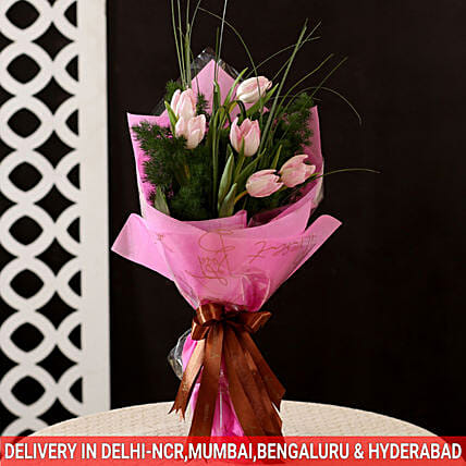 exotic pink tulip bouquet for him