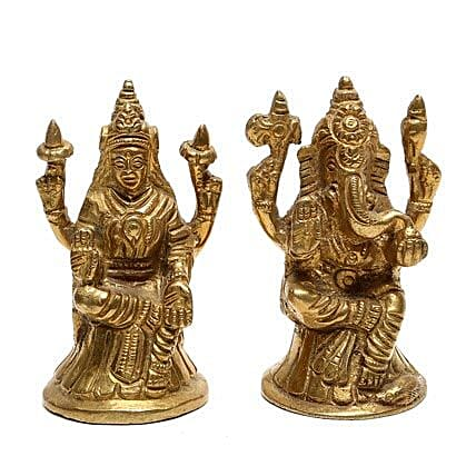 Brass Lakshmi Ganesha Idol-Lakshmi Ganesha bring lots of good luck and prosperity in the life of your loved ones