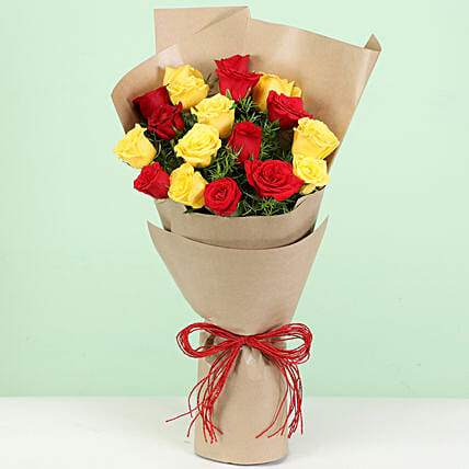 red n yellow carnation bouquet for him