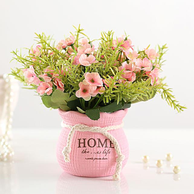 artificial pink daisies in pot arrangement online
