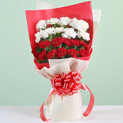 Red and White Carnation Bouquet Online