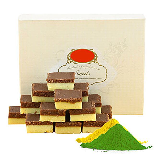 Chocolate burfi, gulal packets