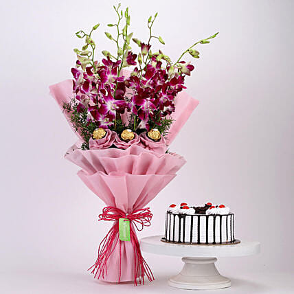 Online Black Forest Cake and Ferrero Orchids Bouquet