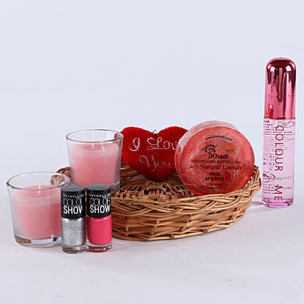 Combo of perfume, candle, small heart, soap and nail paints and cane basket