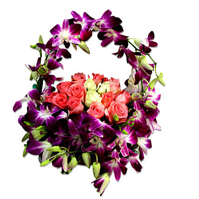 Cradle of best wishes - Arrangement of Basket 14 pink roses, 3 Roses, 12 purple Orchids.