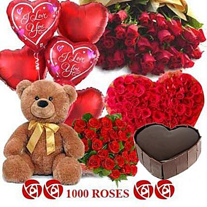 Crazy in Love - Grand hamper with 1000 red roses, 1kg Five star bakery chocolate cake, Big archies n heart shaped balloons.