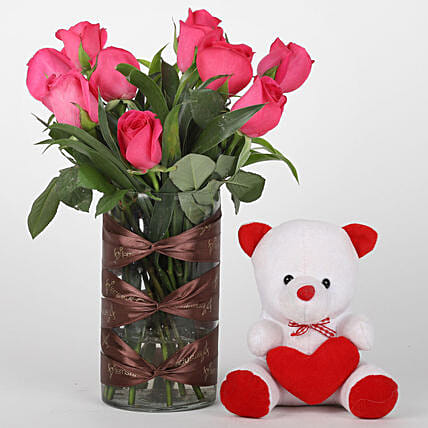 Dark Pink Roses in Vase  & teddy bear combo