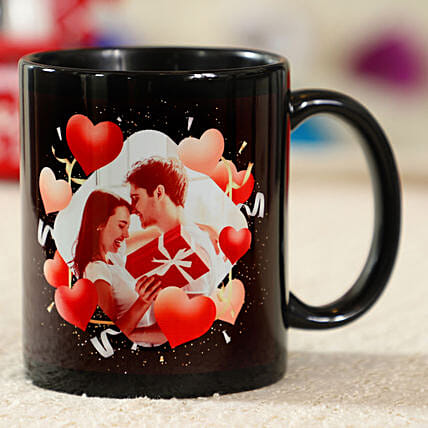Deeply Romantic Black Personalised Mug