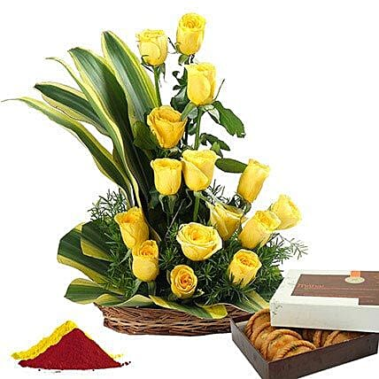 Combo Of Flowers N Sweets For Holi