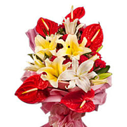 Delicate Princess - Bunch of 4 white oriental lilies, 5 red anthuriums and 12 red carnations.