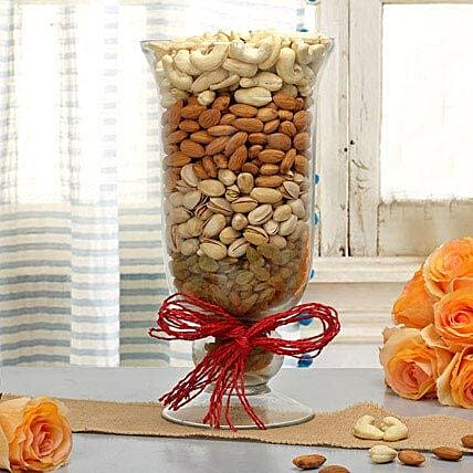 Mixed dry fruits in a glass vase
