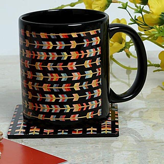Tea coaster with ceramic black mug