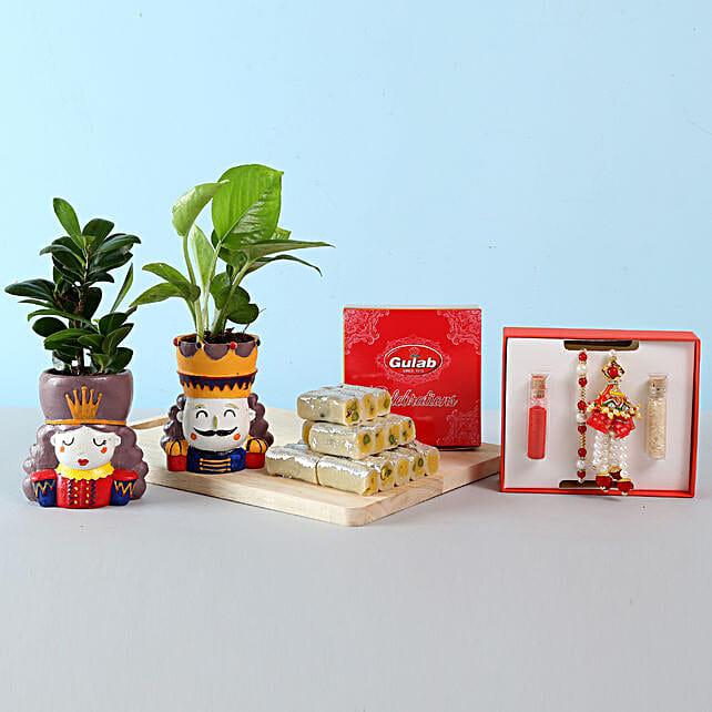 Plant and Rakhi Set for Bhaiya Bhabhi