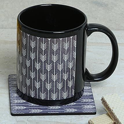 Tea coaster and printed ceramic black mug