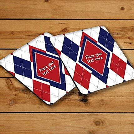 Elegant Personalized Coasters-Red and blue personalized coasters,4 size 3.8 x 3.8 personalized coasters