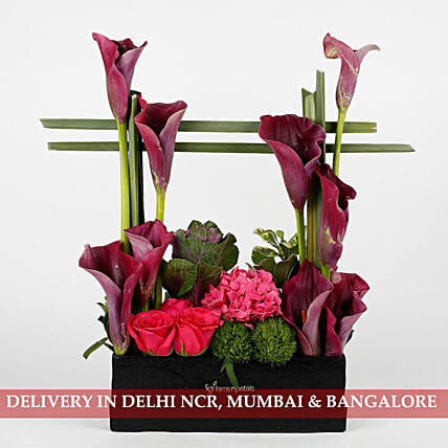 exclusive flower arrangement in black box