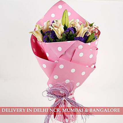 exclusive pink oriental lilies in pink bouquet