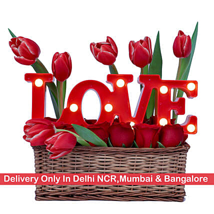 Floral Love Basket -Delhi NCR, Mumbai & Bangalore Only