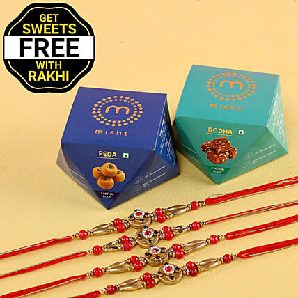 Free Sweet Boxes With Red Stone Rakhi Set