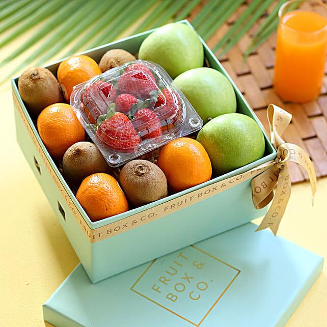 fruit in blue box arrangement online